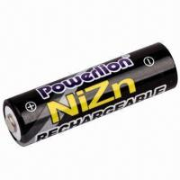 China NiZn 1.6V AA Rechargeable Battery with 2,500mWh Capacity on sale