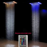 Best Remote control led color 304SUS shower heads finishing mirror rain shower head with 6 big leds LED SHOWER HEADS wholesale