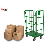 Green Powder Coated Roll Cage Trolley For Warehouse And Cold Storage for sale