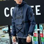 China Custom Nylon Blue Zipper Design Blank Plain Waterproof Windbreaker Jacket Men for sale