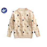 Wholesale Pompom Ball Decoration Girls Pullover Sweaters Cute Cotton Mock Neck Knit Jumper from china suppliers