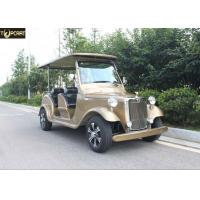 4 Seater Battery Powered Classic Car Golf Carts Champagne Color , 80-100 Km Driving Mileage for sale