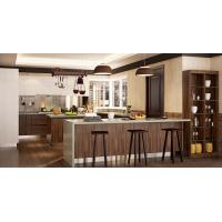 Best Wood Grain White Color Pvc Kitchen Furniture Integrated U - Shaped With Island wholesale