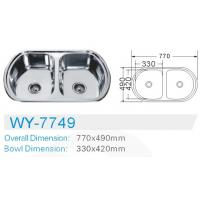 Wholesale double bowl Electric plating kitchen stainless 201 steel sink  cabinet  inserts from china suppliers