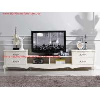 Wholesale Ivory Classic TV stand wood furniture Audiovisual cabinet in White matt PU painting from china suppliers