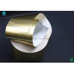 China Cigarette Golden Bright Aluminium Foil Paper No Scratches Oil Pollution Elongation Rate 1% / Min for sale