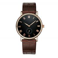 Best Fashion Stainless Steel Watches with Leather strap / quartz wrist watch for men , ultra - thin case wholesale