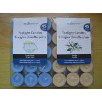 China 100% paraffin 45pack scented tealight candle with clear PVC/PET box and printed label for sale