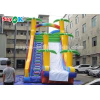 Quality 8*4*7m PVC Coconut Tree Inflatable Bouncer Slide With Two Air Blower For Kids for sale
