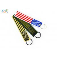 Polyester Custom Embroidered Keychain Rectangle Shape With Merrow Border for sale