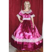 Wholesale Civil War Dress Wholesale XXS to XXXL CIVIL WAR REENACTMENT VICTORIAN DICKENS SASS Burgandy Satin Costume Dress Gown from china suppliers
