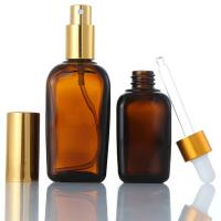 China Cosmetics Square Glass Bottle , Custom Emulsion Lotion Brown Glass Bottles for sale