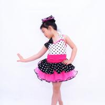Sweet Heart Neckling Tiered Layered Skirt Polka Dots Children'S Dance Costumes