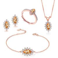 Buy cheap Citrine 925 Silver Gemstone Jewelry Set Pendant Necklace Bracelet Ring Earrings from wholesalers