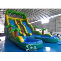 Wholesale 25' high tropical double lane inflatable water slide with double pool from China inflatable manufacturer from china suppliers