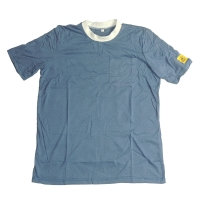 Wholesale Light Blue 96% Polyester 5mm Strip Short Sleeve ESD Smock from china suppliers