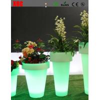 China Plastic Remote Control Rgb Color Changing Outdoor Led Illuminated Solar Powered Plant Pots on sale