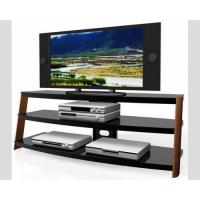 China Wooden TV Media Stand HA-883W Black Powder Coated Metal Solid Wood Leg , TV Stand with shleves on sale
