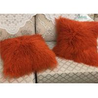 Wholesale Mongolian Sheepskin Wool Cushion Genuine Long Curly Fur Pillow sheepskin curly fur cushion from china suppliers