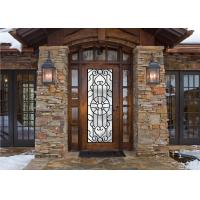 Scroll Work Filled Wrought Iron Glass Door , Single Iron Doors Maintenance Free for sale