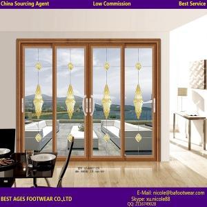 2015 Aluminum Balcony design wooden colour tilt and sliding door