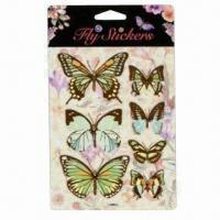 Wholesale 3D Fly Stickers with Die-cut of Butterflies, Dragonflies and Birds from china suppliers