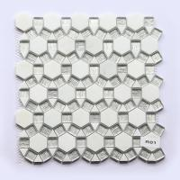 Wall Backsplash Beveled Glass Mosaic Tiles White Marble Mixed 300 X 300 for sale