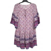 China Different Custom Womens Dresses Pullover Pleated Casual Dresses Purple Color for sale