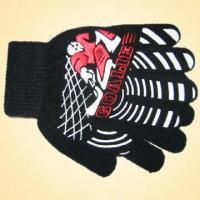 Wholesale 100% Acrylic Knitted Glove with Print on the Back, Available in Various Colors from china suppliers