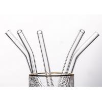 China Clear Curved Glass Drinking Straws / Bent Glass Straws CE Certification on sale