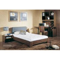Wholesale Walnut wooden Adult Single Bedroom Furniture Leather headboard Bed with Home Studyroom MDF Corner Table with Bookshelves from china suppliers