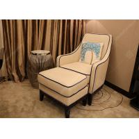 China Luxury Customized Hotel Lounge Chairs High Back Wooden Frame Grey High Density Foam on sale