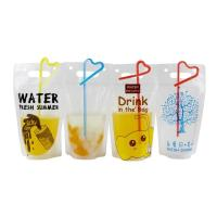 China Clear Drink Pouch Heavy Duty Hand-held Reclosable Zipper Heat-proof Plastic Stand Up Juice Pouch With Straws on sale
