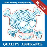 Wholesale D0929  korea quality rhinestone motif skull design transfers for garment from china suppliers