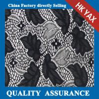 Wholesale 2014 china factory cheap Fashionable leaves design full polyester lace fabric in black for gorgeous black dresses from china suppliers
