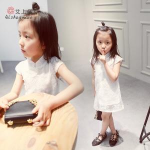 2016 Fashion Girl White Kid's Dress Dancing Chinese Lace Dress Cute Prince Q036