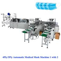 Wholesale 3Ply/4Ply Automatic non woven mask making Machine 1 with 2, mask making machine,automatic face mask making machine from china suppliers