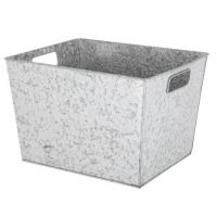 China Galvanized square antiqued silver color Storage Organizer Basket Container Cube for sale