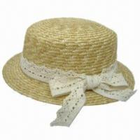 China Ladies' Straw Boater Hat with Lace on sale