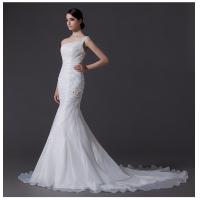Wholesale Ladies Organza mermaid One Shoulder Wedding Gowns cathedral train wedding dresses from china suppliers