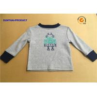 100% Cotton Children T Shirt Long Sleeve Round Neck Heather Gray SGS Certified for sale
