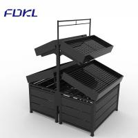 China Black Color Fruit And Vegetable Rack Corrosion Protection For Supermarket on sale
