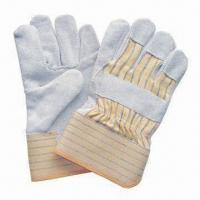 10.5-inch Cowsplit Full Palm Safety Gloves with Yellow Stripe Back, Rubberized Cuff and CE Mark for sale