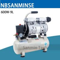 Wholesale 600W - 9L Mini Air Compressor Oilless High Pressure Mute Design Wood Working Home Application AC220V High Quality Sanmin from china suppliers
