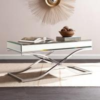 Wholesale Luxury mirrored coffee table stanieless steel base glass top console table for hotel home from china suppliers