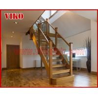 China Solid Wood Staircase VK89S Beech Handrail Tread Beech ,Railing tempered glass, Handrail b eech Stringer,carbon on sale