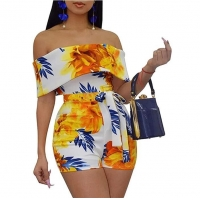 Wholesale Bodycon Boho Jumpsuits for Women -Off Shoulder Bandage Tie Dye Short Rompers Beach Club Outfits tye dye jumpsuit from china suppliers