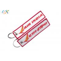 Letter Embroidered KeychainTag Rectangle Shape Twill Background Fabric for sale