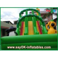 Quality Green Inflatable Water Slide 0.55mm PVC Tarpaulin For Amusement Park for sale