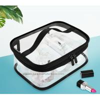 Wholesale Double Pullers Portable Clear PVC Makeup Bag Zippered Waterproof Cosmetic Bag Transparent Travel Storage Carry On Pouch from china suppliers